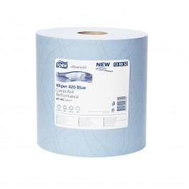 Poetsrol tork blauw 420, 2-lgs blauw breed 24 cm 255 m, 2 rollen 130052