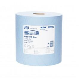 Poetsrollen tork blauw 440, 3-lgs blauw breed 24 cm 119 m, 2 rollen 130081