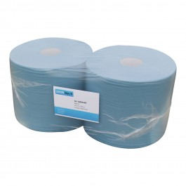 Industrie papier 2-lgs blauw breed 25 cm 380 m, recycled 2 rollen, 540053407