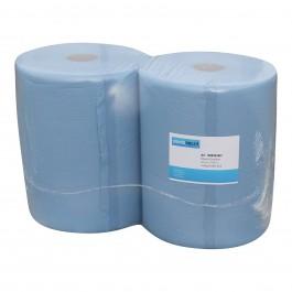 Industrie papier 3-lgs blauw breed 37 cm 190 m, cellulose verlijmd 2 rollen, 1086503447