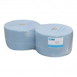 Industrie papier 3-lgs blauw breed 24 cm 380 m, cellulose verlijmd 2 rollen, 1006233456