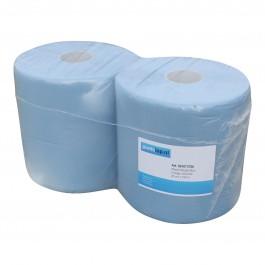 Industrie papier 2-lgs blauw breed 26 cm 190 m, cellulose verlijmd 2 rollen, 501073706