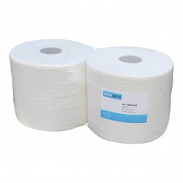 Industrie papier 2-lgs wit breed 24 cm 380 m, cellulose 2 rollen, 1000383408